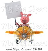 Swine Clipart of 3d Pig Aviator Pilot Holding a Blank Sign and Flying a Yellow and Orange Airplane, on a White Background by Julos