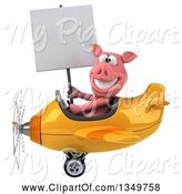 Swine Clipart of 3d Pig Aviator Pilot Holding a Blank Sign and Flying a Yellow and Orange Airplane to the Left by Julos