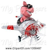 Swine Clipart of 3d Pig Aviator Pilot Wearing Sunglasses and Flying a White and Red Airplane, on a White Background by Julos