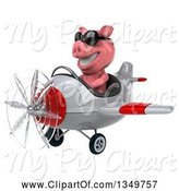 Swine Clipart of 3d Pig Aviator Pilot Wearing Sunglasses and Flying a White and Red Airplane to the Left by Julos