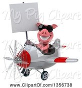 Swine Clipart of 3d Pig Aviator Pilot Wearing Sunglasses, Holding a Blank Sign and Flying a White and Red Airplane, on a White Background by Julos