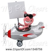 Swine Clipart of 3d Pig Aviator Pilot Wearing Sunglasses, Holding a Blank Sign and Flying a White and Red Airplane to the Left by Julos