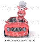 Swine Clipart of 3d Pig Chef Driving a Pink Convertible Car by Julos