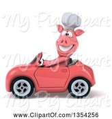 Swine Clipart of 3d Pig Chef Driving a Pink Convertible Car, on a White Background by Julos