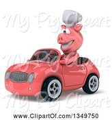 Swine Clipart of 3d Pig Chef Driving a Pink Convertible Car to the Left by Julos