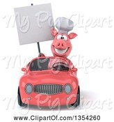 Swine Clipart of 3d Pig Chef Holding a Blank Sign and Driving a Pink Convertible Car, on a White Background by Julos