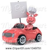 Swine Clipart of 3d Pig Chef Holding a Blank Sign and Driving a Pink Convertible Car to the Left by Julos