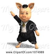 Swine Clipart of 3d Pig Dancing in Clothes by Ralf61