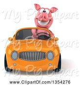 Swine Clipart of 3d Pig Driving a Yellow Convertible Car, on a White Background by Julos
