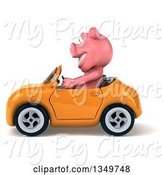 Swine Clipart of 3d Pig Driving a Yellow Convertible Car to the Left by Julos