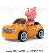 Swine Clipart of 3d Pig Driving an Orange Convertible Car, on a White Background by Julos