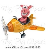 Swine Clipart of 3d Pig Flying a Plane, on a White Background by Julos