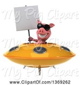 Swine Clipart of 3d Pig Flying a Ufo, on a White Background by Julos
