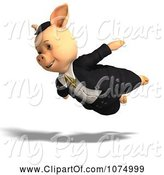Swine Clipart of 3d Pig Flying in Clothes by Ralf61