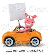 Swine Clipart of 3d Pig Holding a Blank Sign and Driving a Yellow Convertible Car to the Left by Julos