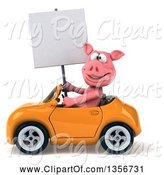 Swine Clipart of 3d Pig Holding a Blank Sign and Driving an Orange Convertible Car, on a White Background by Julos