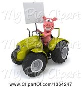 Swine Clipart of 3d Pig Holding a Blank Sign and Operating a Green Tractor, on a White Background by Julos