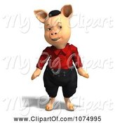 Swine Clipart of 3d Pig in Clothes 7 by Ralf61