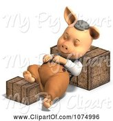 Swine Clipart of 3d Pig in Clothes Sleeping Between Hay Bales by Ralf61