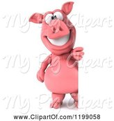 Swine Clipart of 3d Pig Mascot by a Sign by Julos