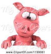 Swine Clipart of 3d Pig Mascot Looking down at a Sign by Julos