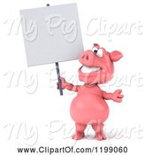 Swine Clipart of 3d Pig Mascot Looking up and Holding a Sign by Julos