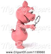 Swine Clipart of 3d Pig Mascot Searching with a Magnifying Glass by Julos