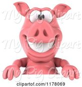 Swine Clipart of 3d Pig Mascot Smiling over a Sign by Julos