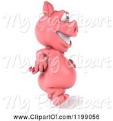 Swine Clipart of 3d Pig Mascot Walking 2 by Julos