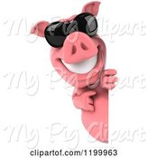 Swine Clipart of 3d Pig Mascot Wearing Sunglasses Looking Around and Pointing to a Sign by Julos