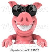 Swine Clipart of 3d Pig Mascot Wearing Sunglasses over a Sign by Julos