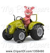 Swine Clipart of 3d Pig Operating a Green Tractor, on a White Background by Julos
