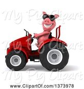 Swine Clipart of 3d Pig Operating a Tractor, on a White Background by Julos