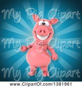 Swine Clipart of 3d Pig over Rays by Julos