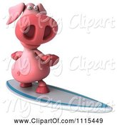 Swine Clipart of 3d Pig Surfing 2 by Julos