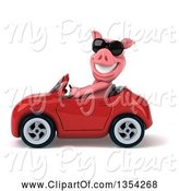 Swine Clipart of 3d Pig Wearing Sunglasses and Driving a Red Convertible Car, on a White Background by Julos