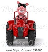 Swine Clipart of 3d Pig Wearing Sunglasses and Operating a Red Tractor, on a White Background by Julos