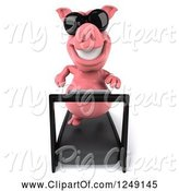 Swine Clipart of 3d Pig Wearing Sunglasses and Running on a Treadmill 4 by Julos