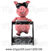 Swine Clipart of 3d Pig Wearing Sunglasses and Running on a Treadmill 5 by Julos