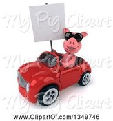 Swine Clipart of 3d Pig Wearing Sunglasses, Holding a Blank Sign and Driving a Red Convertible Car to the Left by Julos