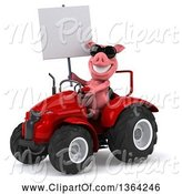 Swine Clipart of 3d Pig Wearing Sunglasses, Holding a Blank Sign and Operating a Red Tractor, on a White Background by Julos