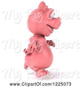 Swine Clipart of 3d Pink Pig Running 2 by Julos