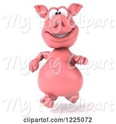 Swine Clipart of 3d Pink Pig Running by Julos