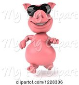Swine Clipart of 3d Pink Pig Running in Sunglasses by Julos
