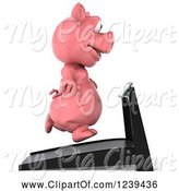 Swine Clipart of 3d Pink Pig Running on a Treadmill 2 by Julos