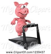 Swine Clipart of 3d Pink Pig Running on a Treadmill 3 by Julos