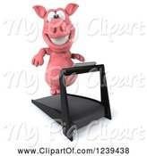 Swine Clipart of 3d Pink Pig Running on a Treadmill 4 by Julos