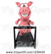 Swine Clipart of 3d Pink Pig Running on a Treadmill by Julos