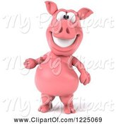 Swine Clipart of 3d Pink Pig Smiling and Presenting by Julos