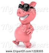 Swine Clipart of 3d Pink Pig Walking in Sunglasses 2 by Julos